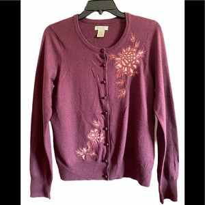Lucky Brand Wool Blend Embroidered Cardigan